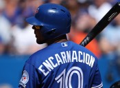 TORONTO, CANADA - JUNE 11: Edwin Encarnacion #10 of the Toronto Blue Jays during his at bat in the eighth inning during MLB game action against the Baltimore Orioles on June 11, 2016 at Rogers Centre in Toronto, Ontario, Canada. (Photo by Tom Szczerbowski/Getty Images)