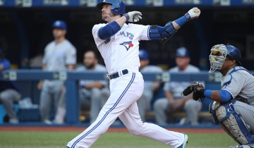 TORONTO, CANADA - JULY 5: Josh Donaldson #20 of the Toronto Blue Jays hits a solo home run in the first inning during MLB game action against the Kansas City Royals on July 5, 2016 at Rogers Centre in Toronto, Ontario, Canada. (Photo by Tom Szczerbowski/Getty Images)